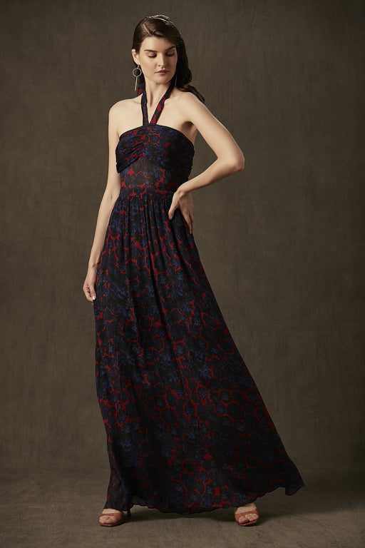 BIRDWALK CHIFFON FLORAL LONG DRESS