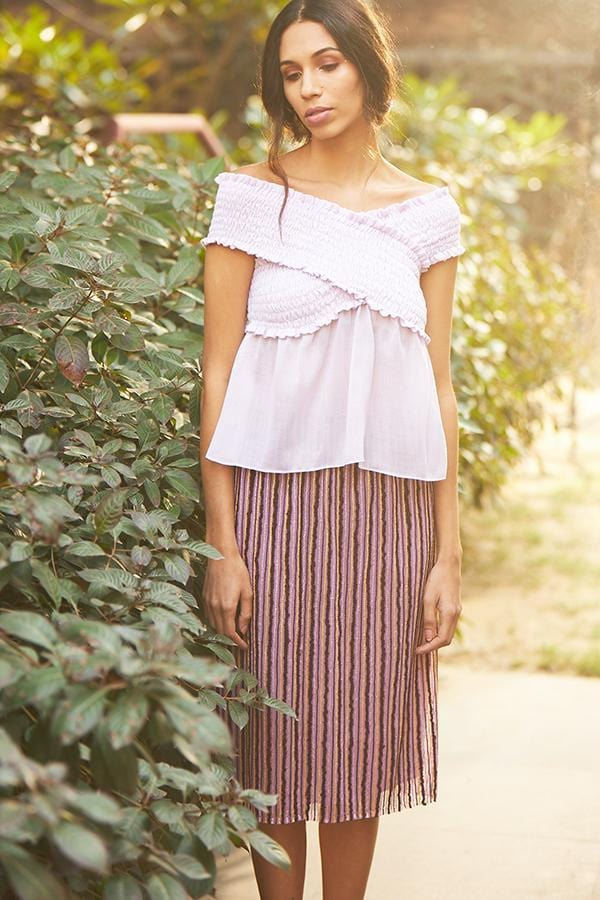 BIRDWALK STRIPED PENCIL SKIRT