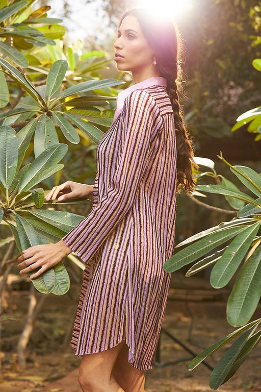BIRDWALK STRIPED SHIRT DRESS