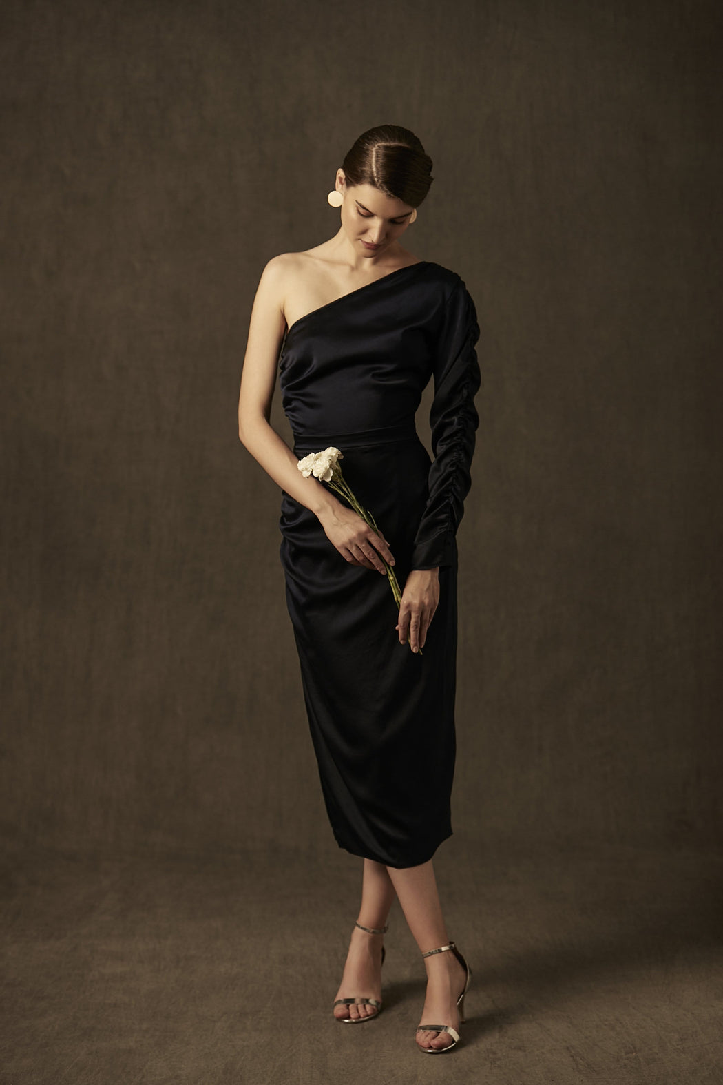 BIRDWALK ONE SLEEVE SATIN DRESS