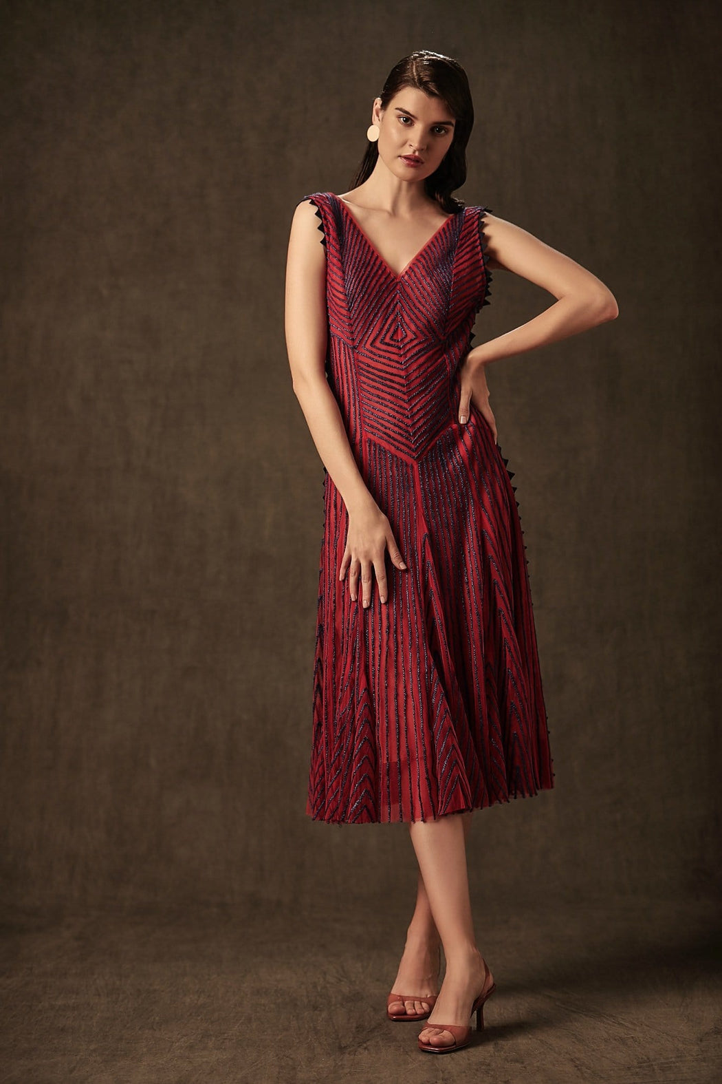 BIRDWALK STRIPED  NET FLAPPER  DRESS