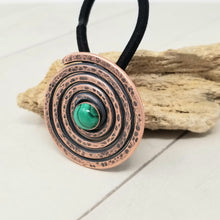 Load image into Gallery viewer, Hammered Copper Spiral Ponytail Holder with Genuine Malachite Gemstone.