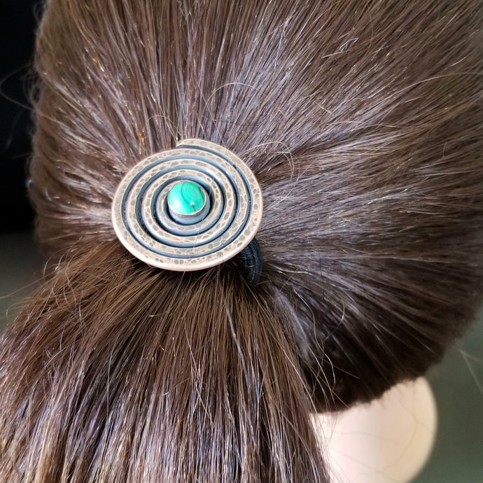 Hammered Copper Spiral Ponytail Holder with Genuine Malachite Gemstone.