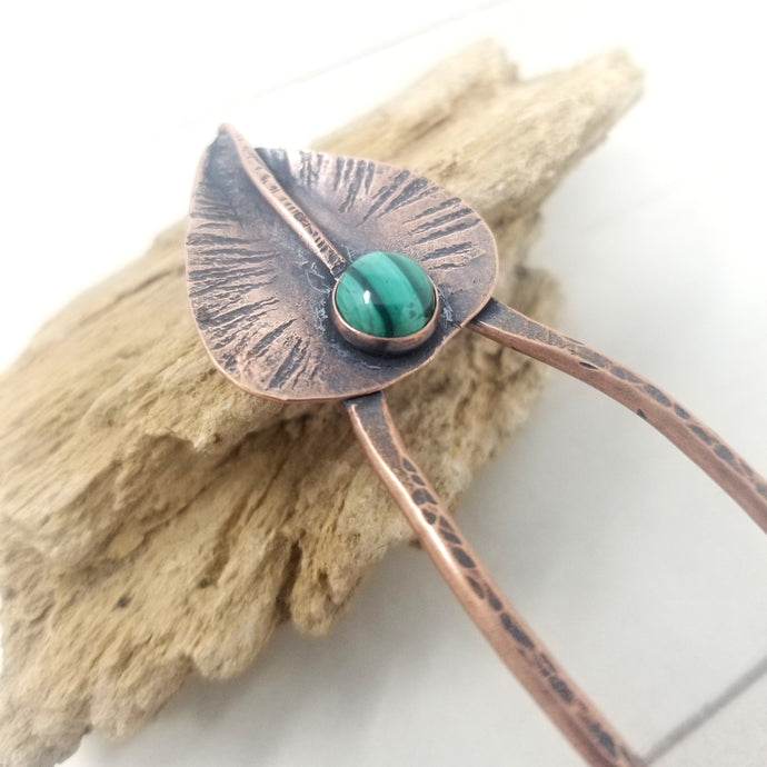 Copper Leaf Crystal Hair Fork, Hammered Copper with Malachite Gemstone
