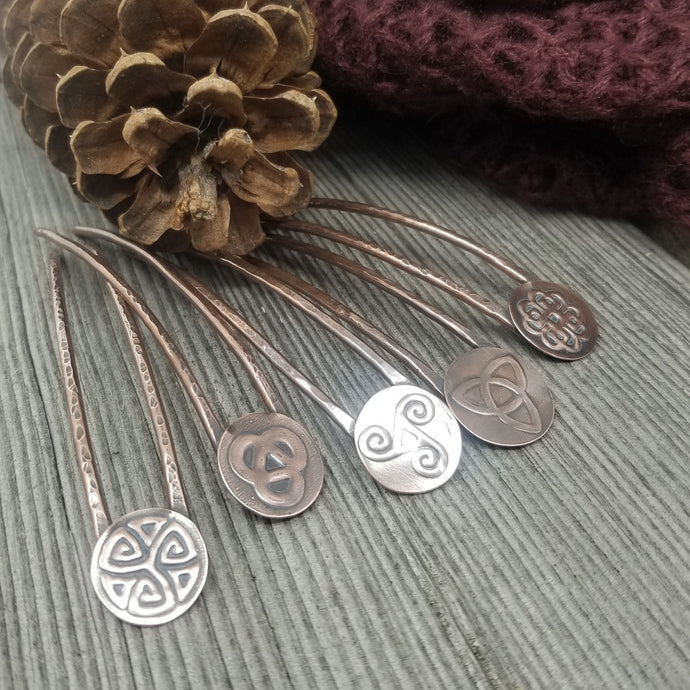 Celtic Symbol Copper French Hair Pin, Bun Holder Hair Accessory