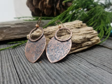 Load image into Gallery viewer, Hammered Copper Tribal Shield Earrings.