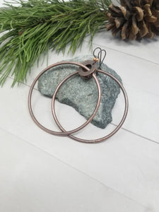 Large Rustic Copper Dangle Hoop Earrings.