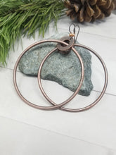 Load image into Gallery viewer, Large Rustic Copper Dangle Hoop Earrings.