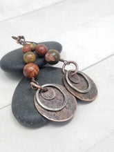 Load image into Gallery viewer, Red Creek Jasper Copper Earrings with Hypoallergenic Niobium Ear Wires.