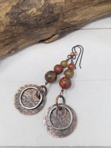 Red Creek Jasper Copper Earrings with Hypoallergenic Niobium Ear Wires.