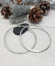 Load image into Gallery viewer, Extra Large Silver Hoops, Hammered Nickel Silver