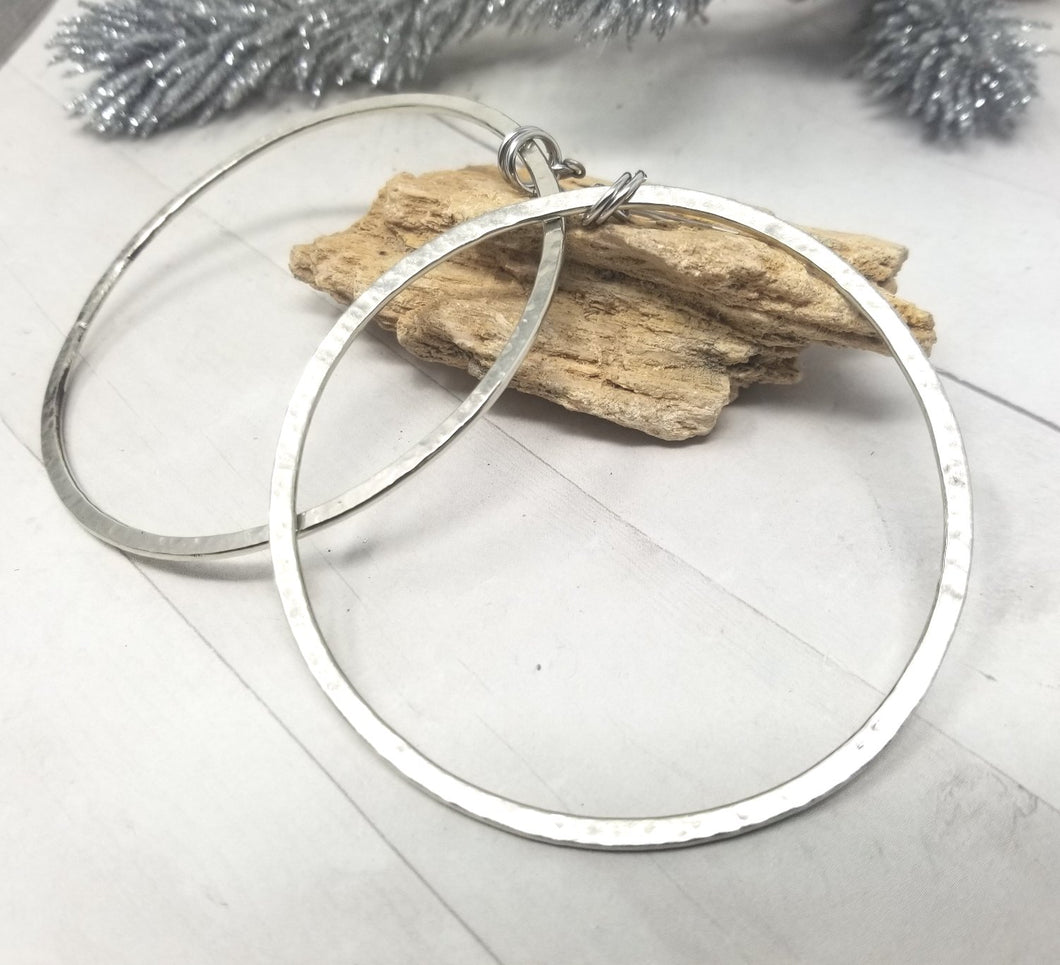 Extra Large Silver Hoops, Hammered Nickel Silver