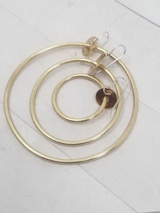 Medium 2 inch Brass Hoop Earrings, Classy and Minimalist with handmade Sterling Silver Ear Wires.