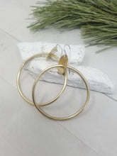 Load image into Gallery viewer, Medium 2 inch Brass Hoop Earrings, Classy and Minimalist with handmade Sterling Silver Ear Wires.