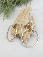 Load image into Gallery viewer, Small Brass Hoop Earrings, Classy and Minimalist with handmade Sterling Silver Ear Wires.