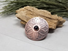 Load image into Gallery viewer, Etched Copper Shawl Pin Brooch with Red Garnet