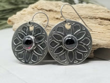 Load image into Gallery viewer, Garnet Mandala Earrings, Nickel Silver Flower Mandala Dangle Earrings with Red Garnets.
