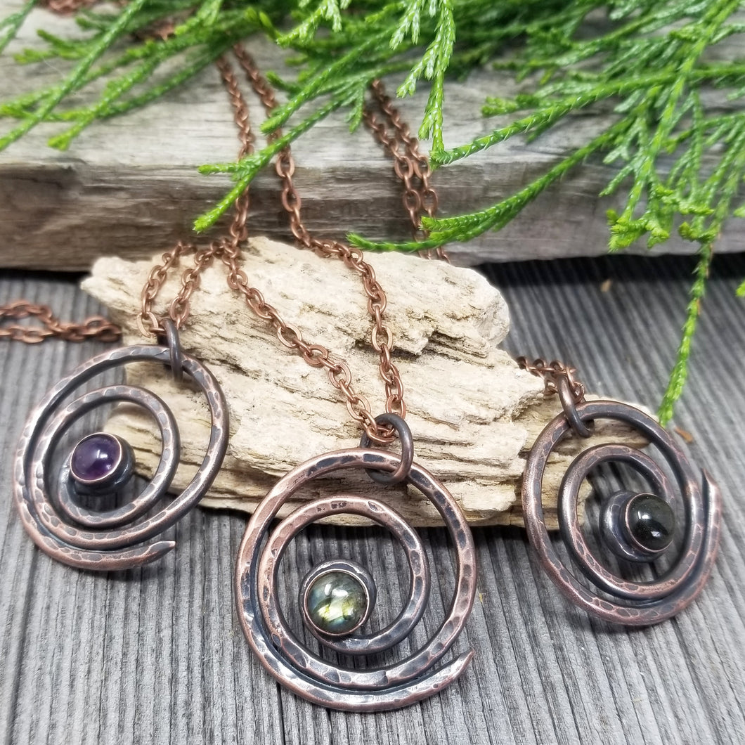 Sacred Geometry Spiral Symbol Necklace with Crystal Gemstonem