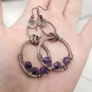 Wirewrapped Amethyst Crystal and Antiqued Copper Earrings