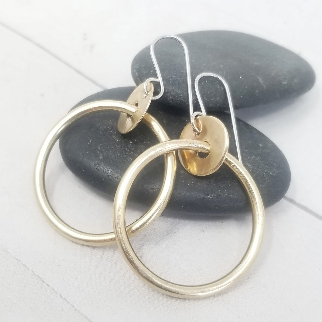 Small Brass Hoop Earrings, Classy and Minimalist with handmade Sterling Silver Ear Wires.
