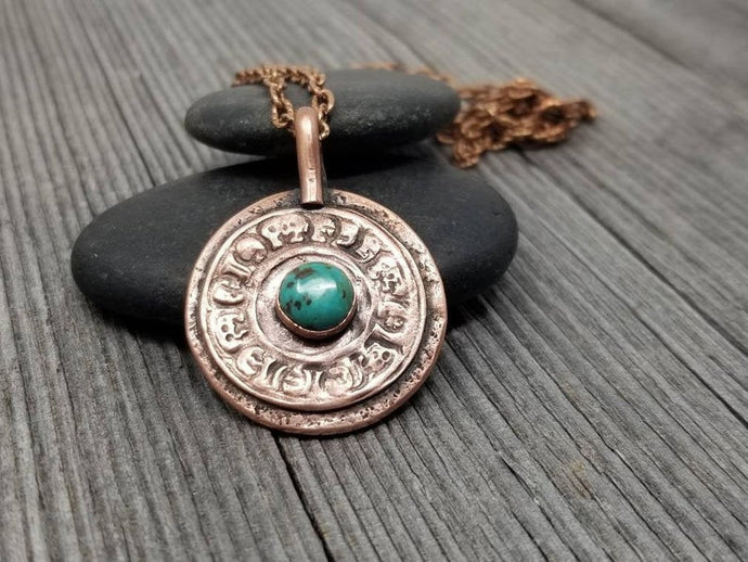 Mens Turquoise Amulet Necklace. Rustic Copper Relic Pendant with Symbols
