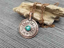 Load image into Gallery viewer, Mens Turquoise Amulet Necklace. Rustic Copper Relic Pendant with Symbols