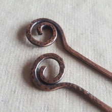 Load image into Gallery viewer, Spiral Hair Pins, Set of 2 Hair Sticks, Hammered Copper Hairsticks. Rustic Copper Hair Accessories.