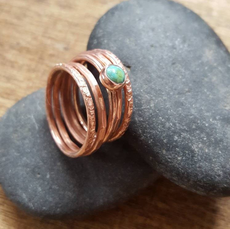 Turquoise Gemstone Ring Set of 5, Thin Copper Stacking Rings with Tibetan Turquoise.