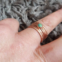 Load image into Gallery viewer, Turquoise Gemstone Ring Set of 5, Thin Copper Stacking Rings with Tibetan Turquoise.