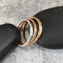 Load image into Gallery viewer, Mixed Metal Stacking Rings, Copper, Sterling Silver, Brass.
