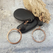 Load image into Gallery viewer, Essential Oil Diffuser Earrings, Crunchy Mom Gift, Lava Stone Earrings, Copper Dangle Earrings.