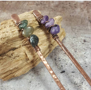 Set of 2 Metal Hair Sticks with Wirewrapped Crystals