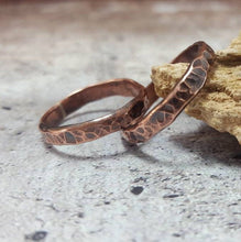 Load image into Gallery viewer, Rustic Hammered Copper Band Ring, Rugged Ring for Men, 7th Anniversary Gift, Tribal Viking Ring