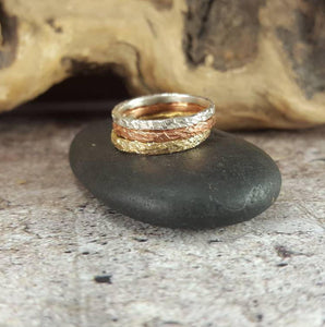 Mixed Metal Stacking Rings, Copper, Sterling Silver, Brass.