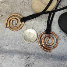 Load image into Gallery viewer, Celtic Spiral Necklace, Ancient Symbol, Rustic Hand forged hammered Metal Viking Pendant,