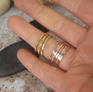 Hammered Silver Brass Copper Bronze Stacking Rings Mix and Match Metals