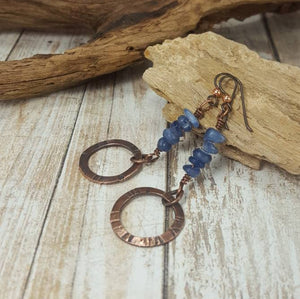 Blue Kyanite Earrings, Rustic copper Crystal Chip Earrings
