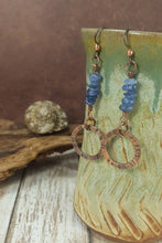 Load image into Gallery viewer, Blue Kyanite Earrings, Rustic copper Crystal Chip Earrings