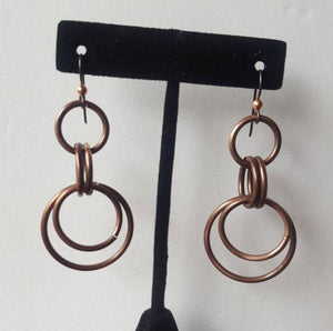 Copper Chainmaille Style Hoop Earrings,