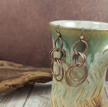 Load image into Gallery viewer, Copper Chainmaille Style Hoop Earrings,