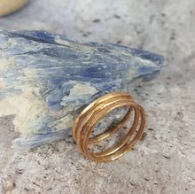 Load image into Gallery viewer, Set of 3 Bronze Stacking Rings, Thin Hammered Minimalist Rings