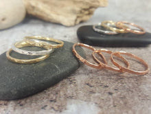 Load image into Gallery viewer, Hammered Silver Brass Copper Bronze Stacking Rings Mix and Match Metals