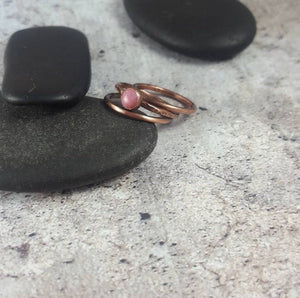 Copper Stacking Rings, Set of 3 Minimalist Gemstone Rings with Pink Rhodonite.  Ladies Thin Stack Rings, Gift for her. Mom Gift.