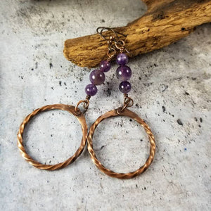 Rustic Copper Amethyst Crystal Dangle Earrings. Boho Jewelry