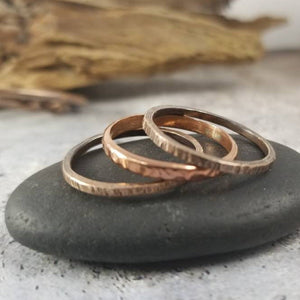 Thick Stack Rings, Set of 3. Heavy Textured Mixed Metals Stackable Ring Set