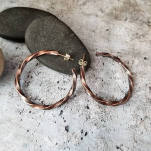 Twisted Raw Copper Hoops, Post Open Hoop Earrings, Girlfriend Gift, Blackened Copper Post Earrings, Copper Earrings, Twist Metal Earrings.