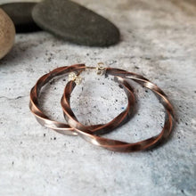 Load image into Gallery viewer, Twisted Raw Copper Hoops, Post Open Hoop Earrings, Girlfriend Gift, Blackened Copper Post Earrings, Copper Earrings, Twist Metal Earrings.