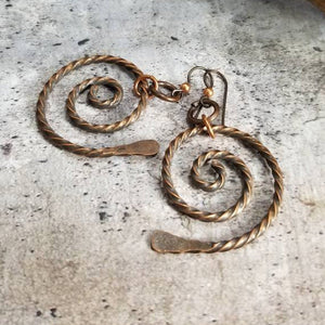 Twisted Copper Spiral Symbol Dangle Earrings