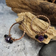 Load image into Gallery viewer, Crystal Dangle Earrings, Antiqued Copper Earrings. Purple Black Gem Copper Earrings, Amethyst February Birthstone Jewelry. Gift for Mom.