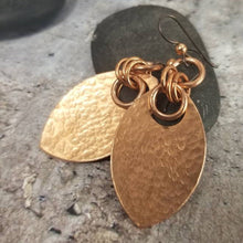 Load image into Gallery viewer, Dragon Scale Earrings, Hammered Copper Solid Metal Scales, Dangle Earrings, Medieval Jewelry, SCA LARP, Rustic Viking Earrings. Ren Faire.